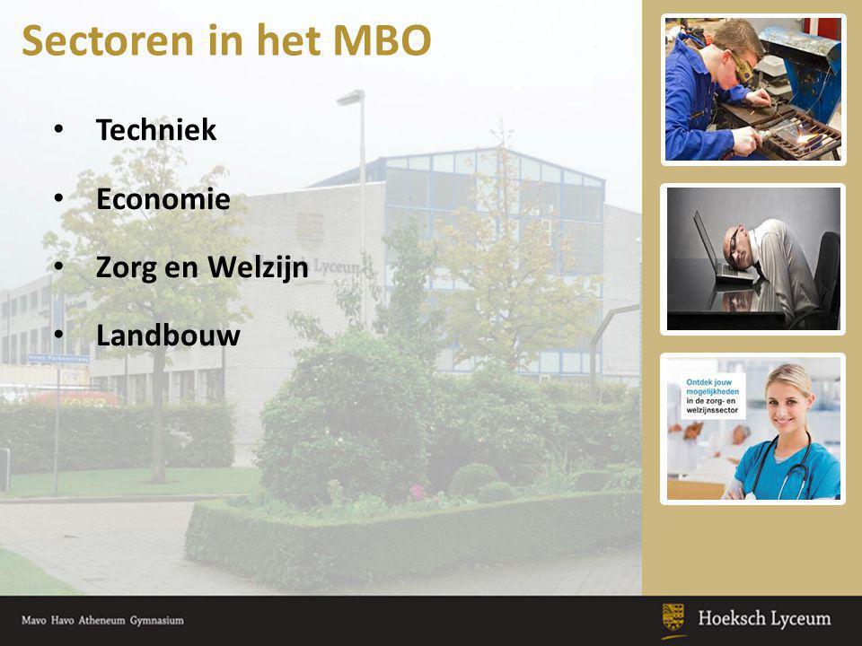 Techniek Economie Zorg en Welzijn Landbouw Sectoren in het MBO