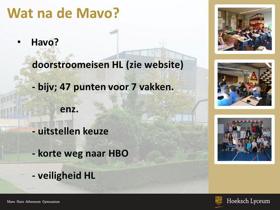 Havo? doorstroomeisen HL (zie website) - bijv; 47 punten voor 7 vakken. enz. - uitstellen keuze - korte weg naar HBO - veiligheid HL Wat na de Mavo?