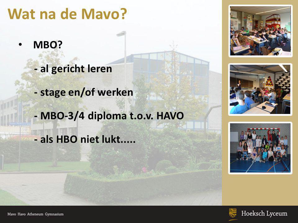 MBO? - al gericht leren - stage en/of werken - MBO-3/4 diploma t.o.v. HAVO - als HBO niet lukt..... Wat na de Mavo?