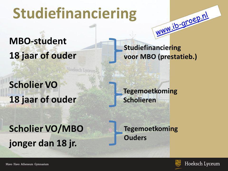 Studiefinanciering MBO-student 18 jaar of ouder Scholier VO 18 jaar of ouder Scholier VO/MBO jonger dan 18 jr.