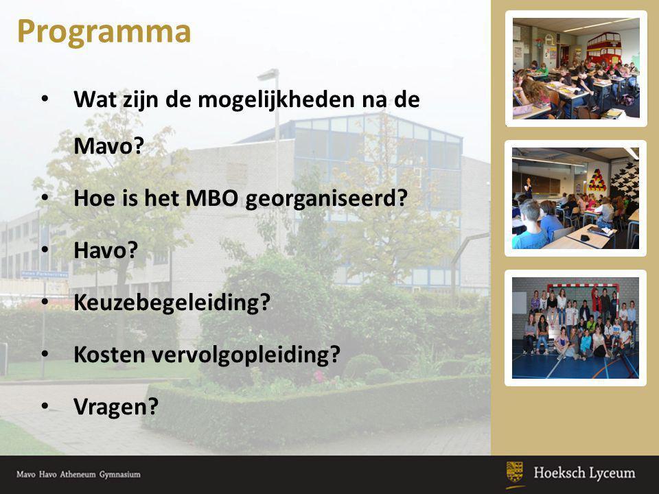 Wat zijn de mogelijkheden na de Mavo? Hoe is het MBO georganiseerd? Havo? Keuzebegeleiding? Kosten vervolgopleiding? Vragen? Programma
