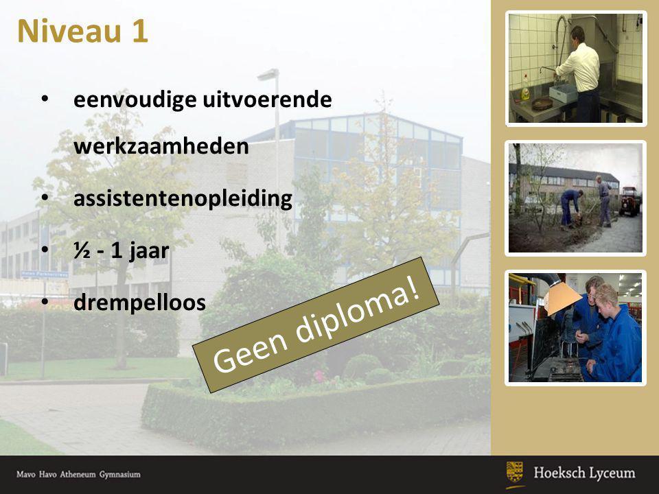 eenvoudige uitvoerende werkzaamheden assistentenopleiding ½ - 1 jaar drempelloos Niveau 1 Geen diploma!