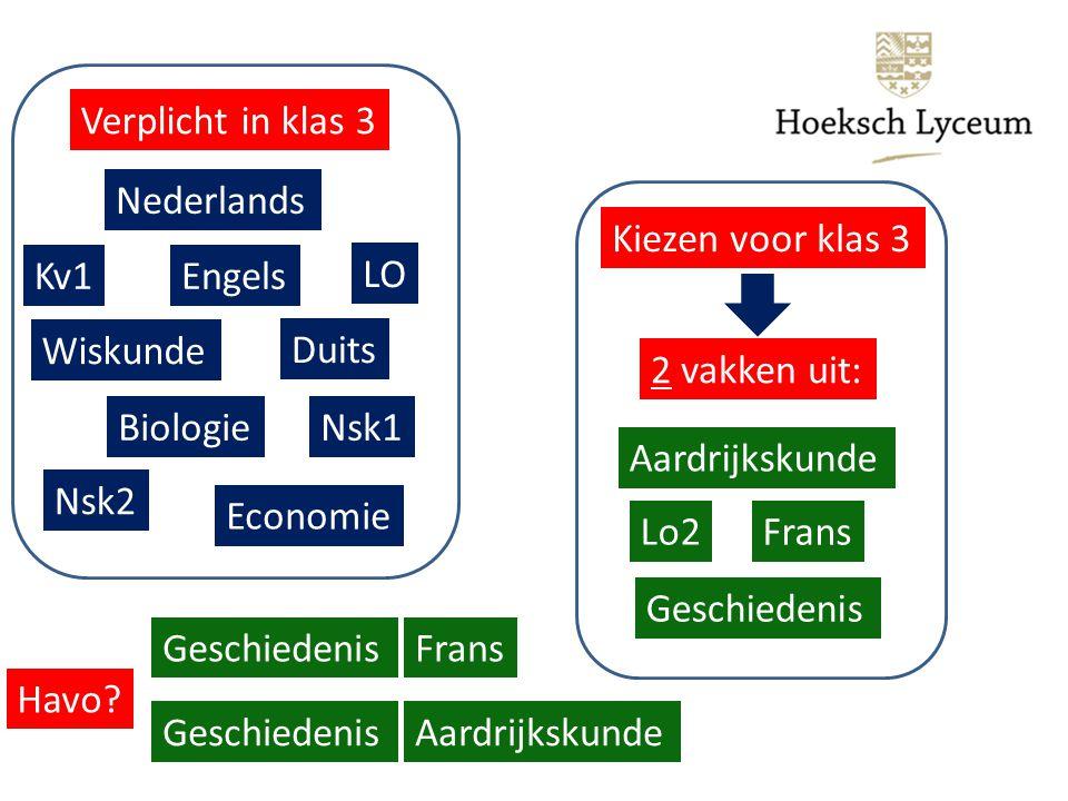 Verplicht in klas 3 Nederlands Duits Engels Wiskunde Nsk1 Nsk2 Biologie Economie Kv1 LO Kiezen voor klas 3 Frans Geschiedenis Aardrijkskunde Lo2 2 vakken uit: Havo.