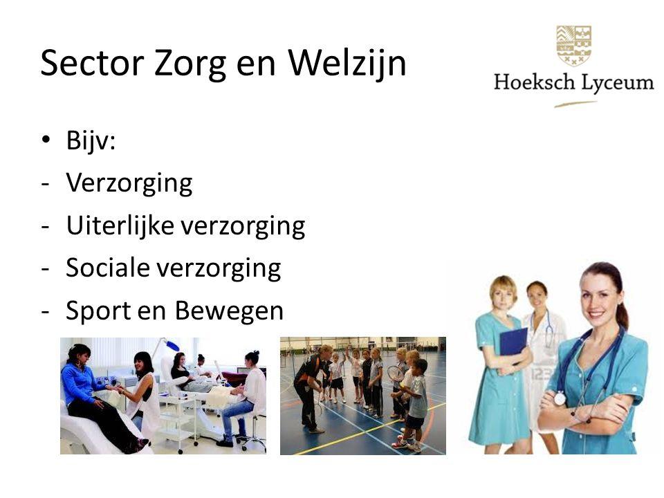 Sector Zorg en Welzijn Bijv: -Verzorging -Uiterlijke verzorging -Sociale verzorging -Sport en Bewegen