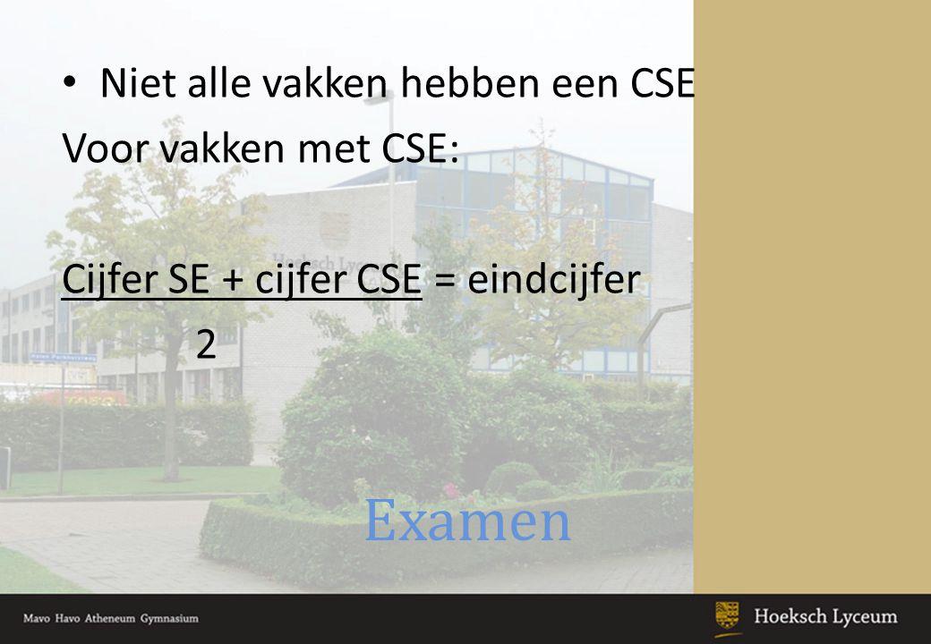 Examen Niet alle vakken hebben een CSE Voor vakken met CSE: Cijfer SE + cijfer CSE = eindcijfer 2