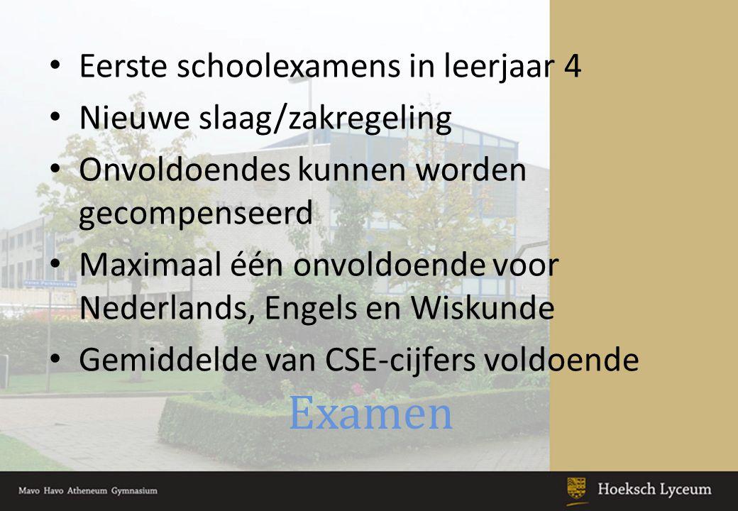 Examen Eerste schoolexamens in leerjaar 4 Nieuwe slaag/zakregeling Onvoldoendes kunnen worden gecompenseerd Maximaal één onvoldoende voor Nederlands, Engels en Wiskunde Gemiddelde van CSE-cijfers voldoende