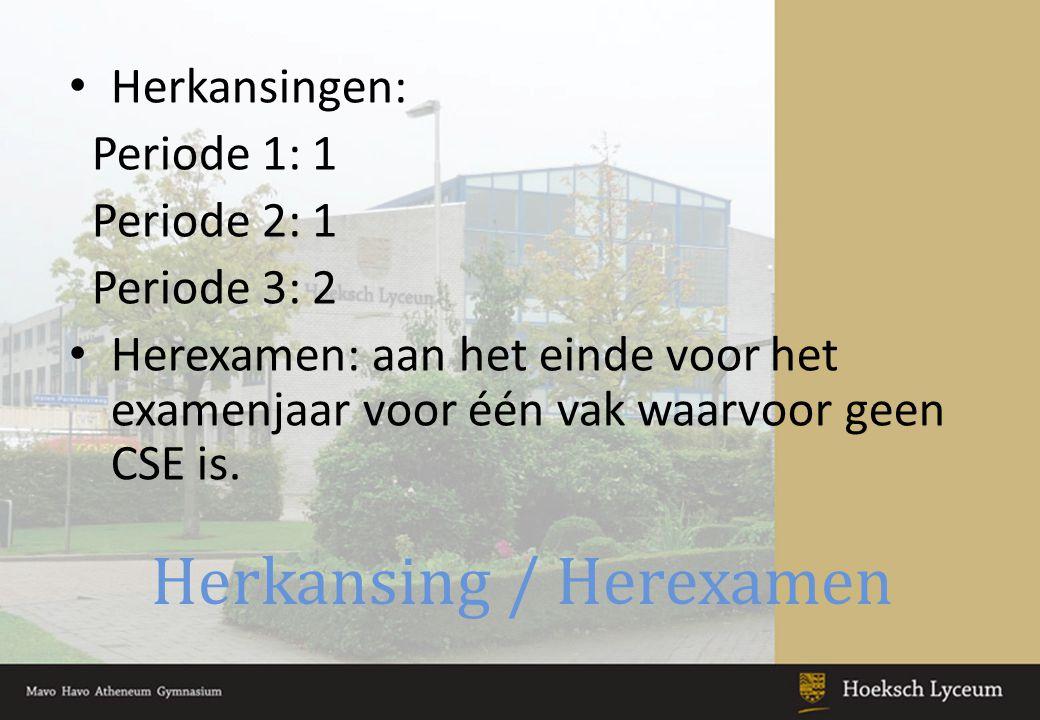 Herkansing / Herexamen Herkansingen: Periode 1: 1 Periode 2: 1 Periode 3: 2 Herexamen: aan het einde voor het examenjaar voor één vak waarvoor geen CSE is.