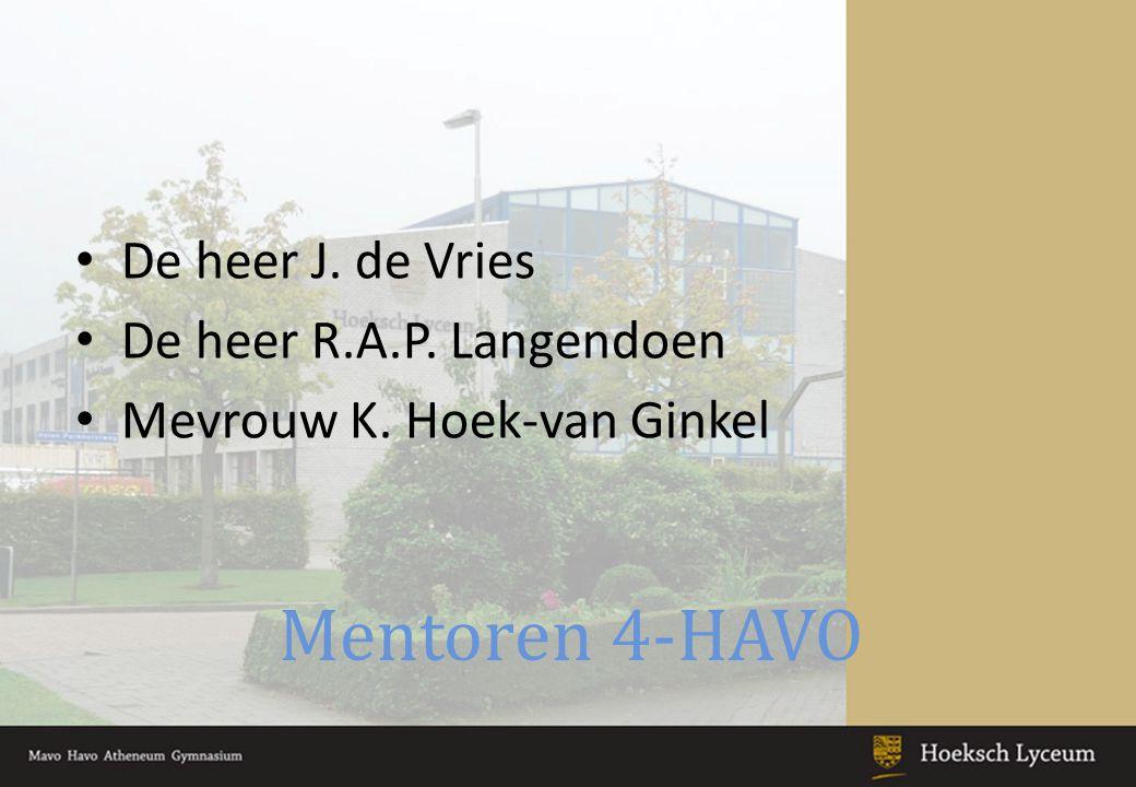 Mentoren 4-HAVO De heer J. de Vries De heer R.A.P. Langendoen Mevrouw K. Hoek-van Ginkel