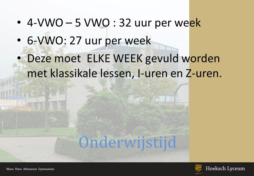 Onderwijstijd 4-VWO – 5 VWO : 32 uur per week 6-VWO: 27 uur per week Deze moet ELKE WEEK gevuld worden met klassikale lessen, I-uren en Z-uren.
