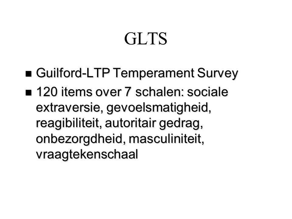 GLTS n Guilford-LTP Temperament Survey n 120 items over 7 schalen: sociale extraversie, gevoelsmatigheid, reagibiliteit, autoritair gedrag, onbezorgdh
