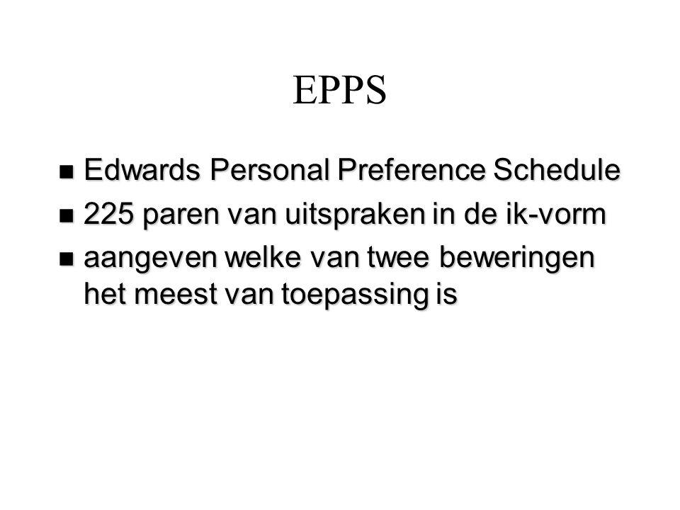 EPPS n Edwards Personal Preference Schedule n 225 paren van uitspraken in de ik-vorm n aangeven welke van twee beweringen het meest van toepassing is