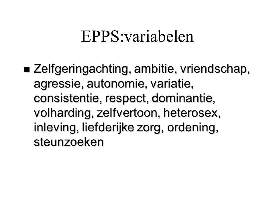 EPPS:variabelen n Zelfgeringachting, ambitie, vriendschap, agressie, autonomie, variatie, consistentie, respect, dominantie, volharding, zelfvertoon,