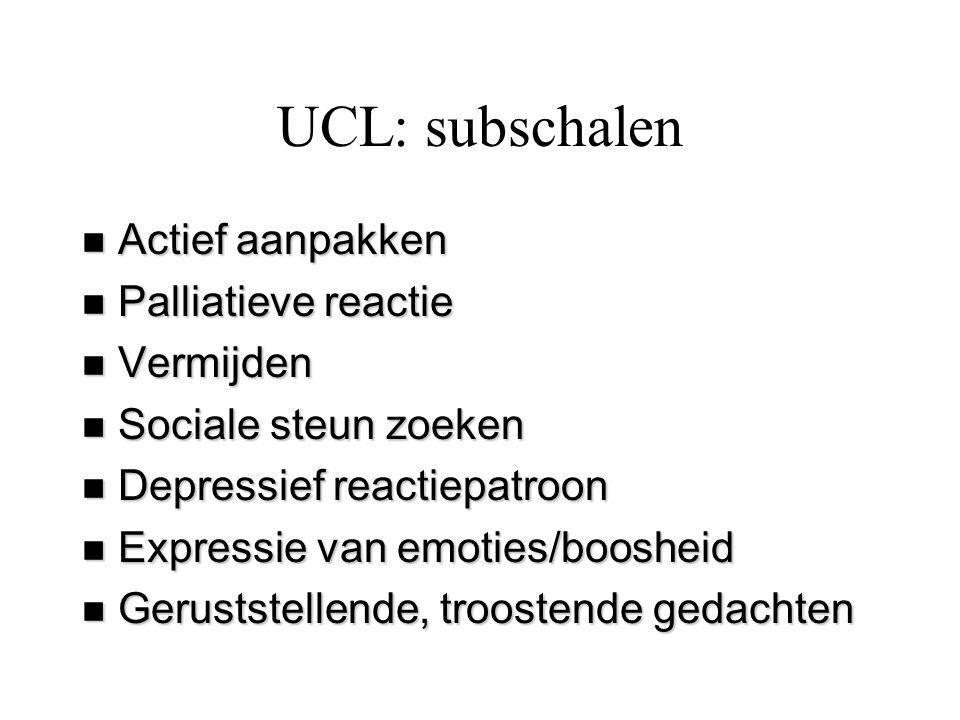 UCL: subschalen n Actief aanpakken n Palliatieve reactie n Vermijden n Sociale steun zoeken n Depressief reactiepatroon n Expressie van emoties/booshe