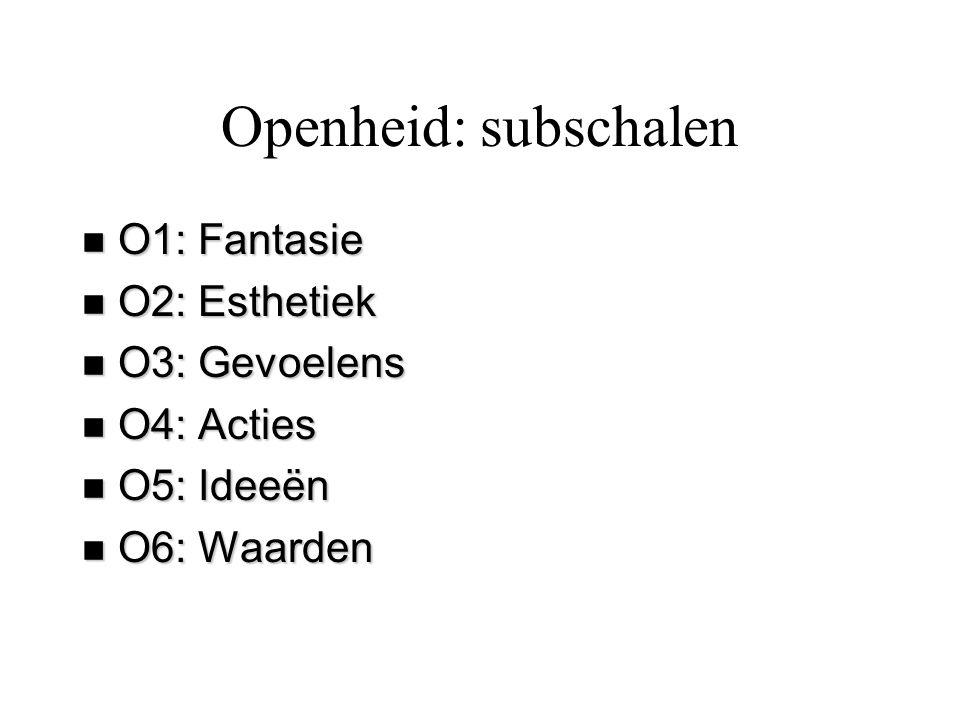 Openheid: subschalen n O1: Fantasie n O2: Esthetiek n O3: Gevoelens n O4: Acties n O5: Ideeën n O6: Waarden