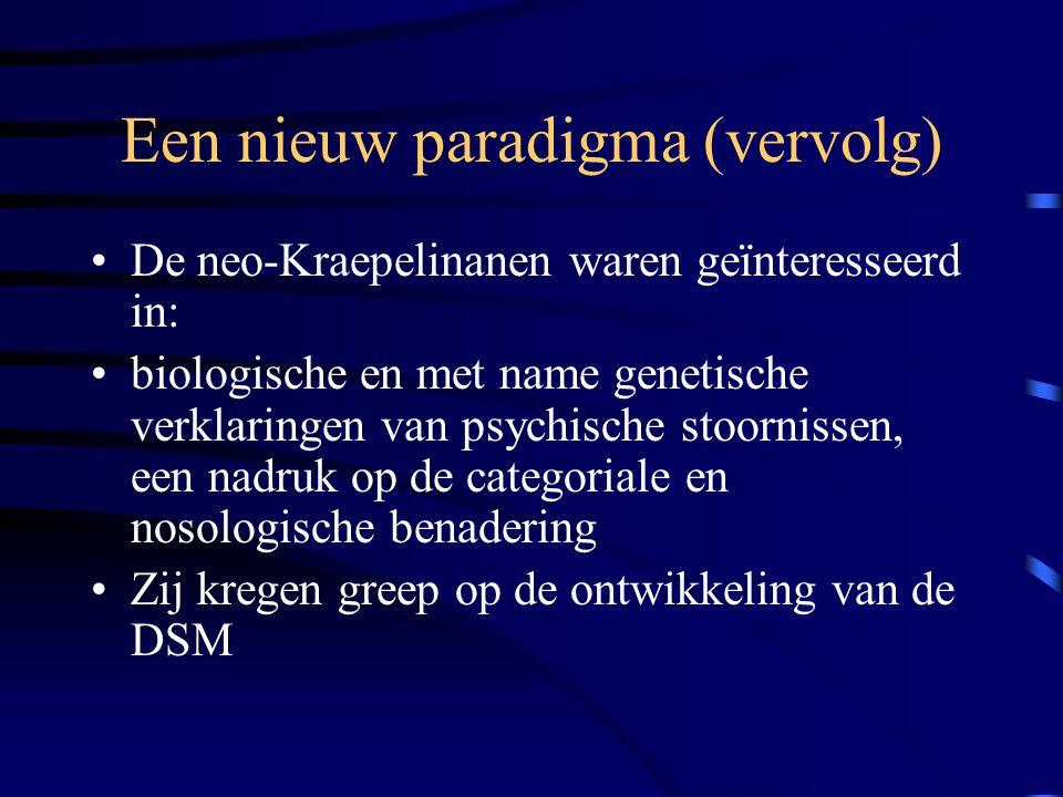 Een nieuw paradigma (vervolg) De neo-Kraepelinanen waren geïnteresseerd in: biologische en met name genetische verklaringen van psychische stoornissen