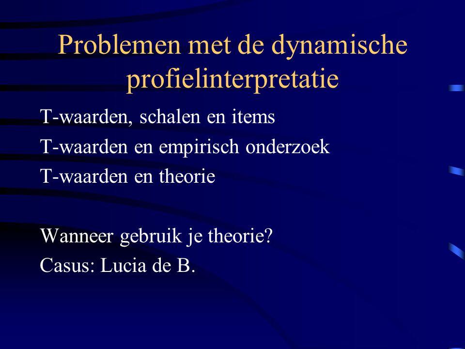 Problemen met de dynamische profielinterpretatie T-waarden, schalen en items T-waarden en empirisch onderzoek T-waarden en theorie Wanneer gebruik je