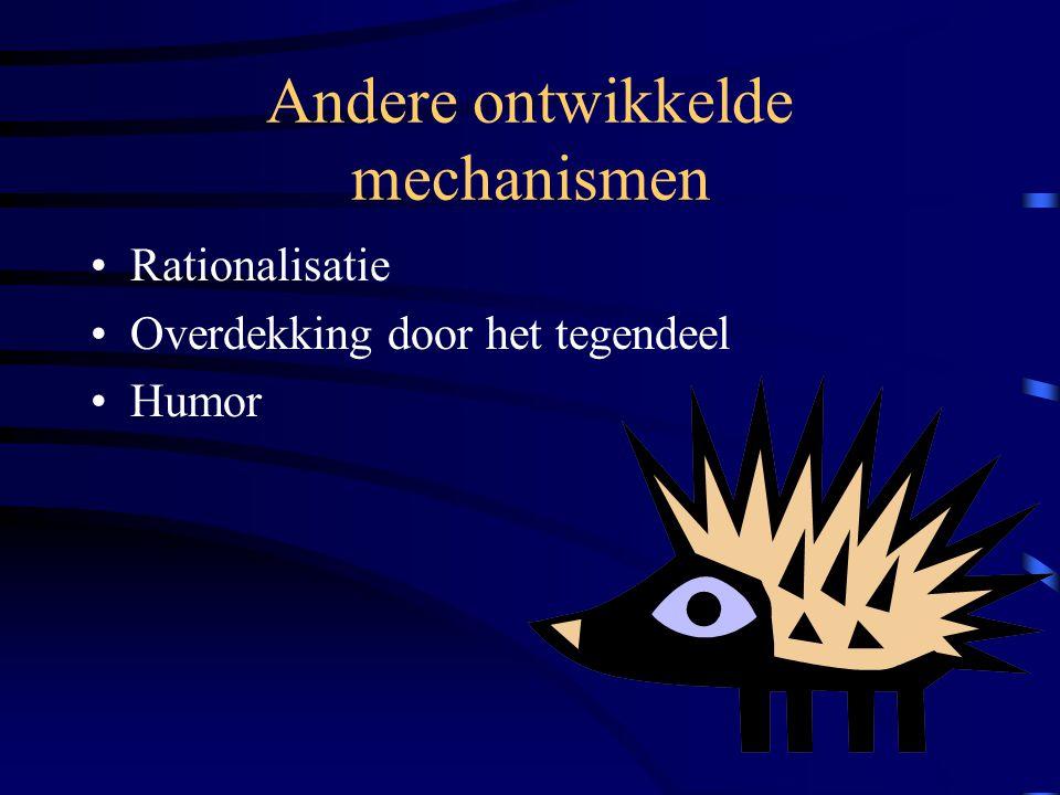 Andere ontwikkelde mechanismen Rationalisatie Overdekking door het tegendeel Humor