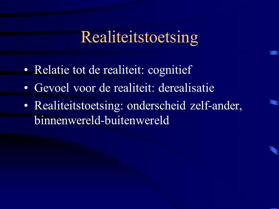 Realiteitstoetsing Relatie tot de realiteit: cognitief Gevoel voor de realiteit: derealisatie Realiteitstoetsing: onderscheid zelf-ander, binnenwereld