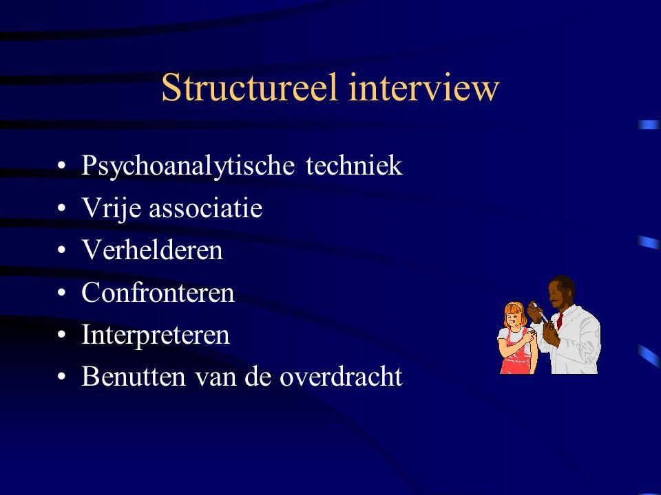 Structureel interview Psychoanalytische techniek Vrije associatie Verhelderen Confronteren Interpreteren Benutten van de overdracht