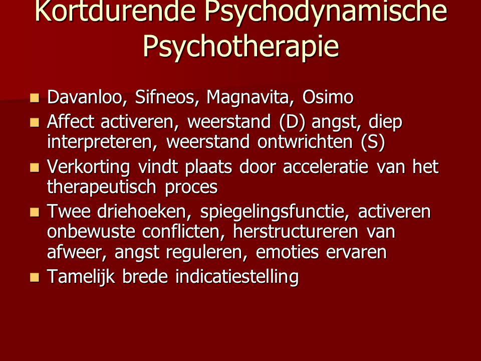 Kortdurende Psychodynamische Psychotherapie Davanloo, Sifneos, Magnavita, Osimo Davanloo, Sifneos, Magnavita, Osimo Affect activeren, weerstand (D) an