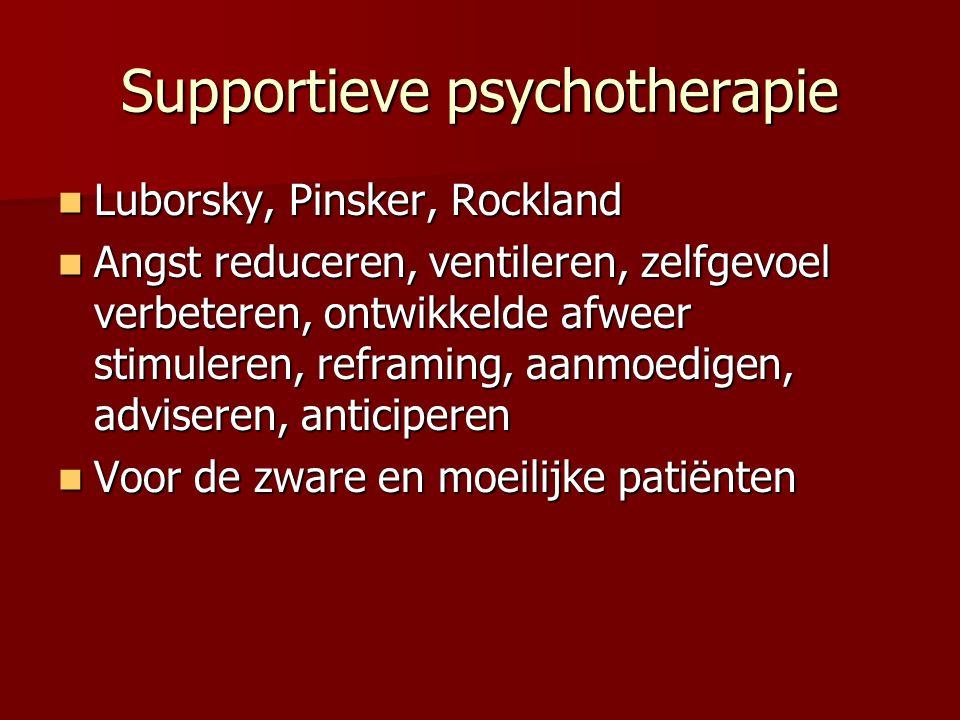 Supportieve psychotherapie Luborsky, Pinsker, Rockland Luborsky, Pinsker, Rockland Angst reduceren, ventileren, zelfgevoel verbeteren, ontwikkelde afw