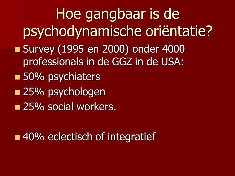 Hoe gangbaar is de psychodynamische oriëntatie? Survey (1995 en 2000) onder 4000 professionals in de GGZ in de USA: Survey (1995 en 2000) onder 4000 p