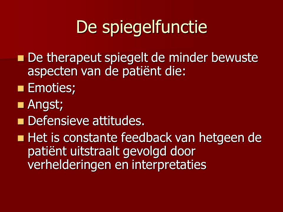 De spiegelfunctie De therapeut spiegelt de minder bewuste aspecten van de patiënt die: De therapeut spiegelt de minder bewuste aspecten van de patiënt