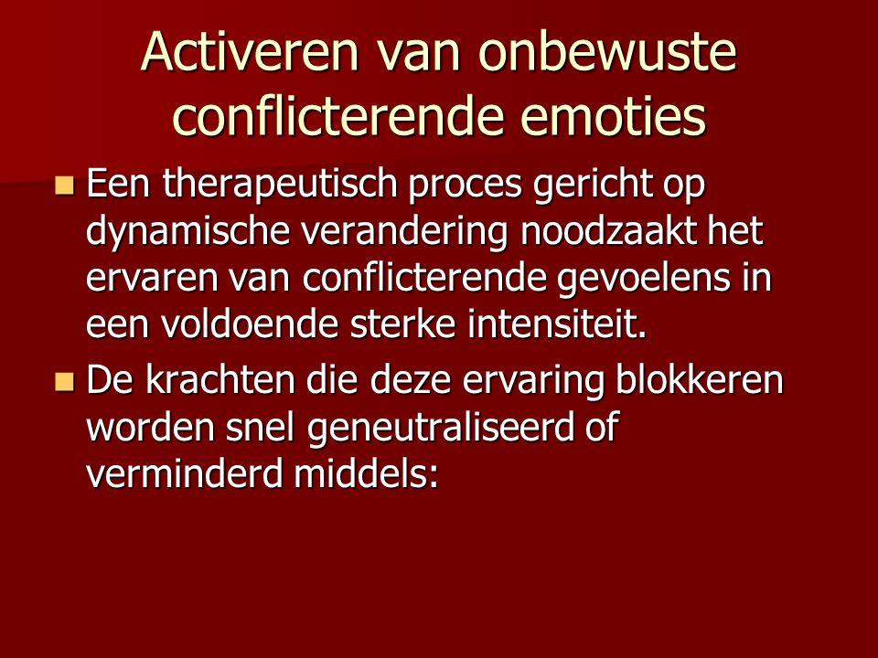 Activeren van onbewuste conflicterende emoties Een therapeutisch proces gericht op dynamische verandering noodzaakt het ervaren van conflicterende gev