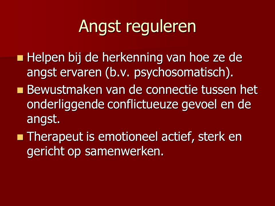 Angst reguleren Helpen bij de herkenning van hoe ze de angst ervaren (b.v. psychosomatisch). Helpen bij de herkenning van hoe ze de angst ervaren (b.v