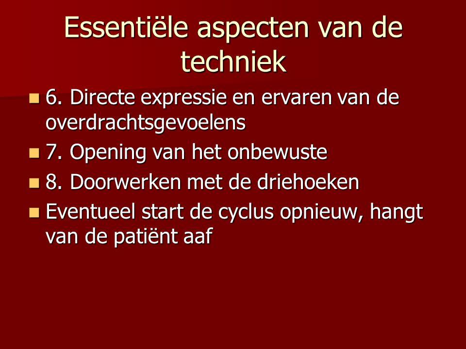 Essentiële aspecten van de techniek 6. Directe expressie en ervaren van de overdrachtsgevoelens 6. Directe expressie en ervaren van de overdrachtsgevo