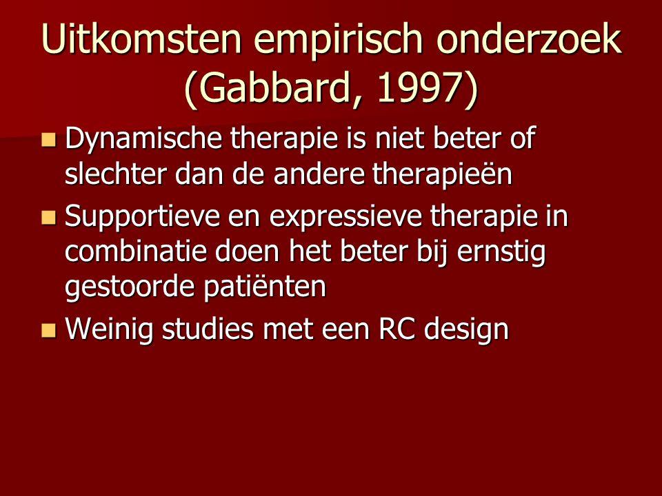 Uitkomsten empirisch onderzoek (Gabbard, 1997) Dynamische therapie is niet beter of slechter dan de andere therapieën Dynamische therapie is niet bete