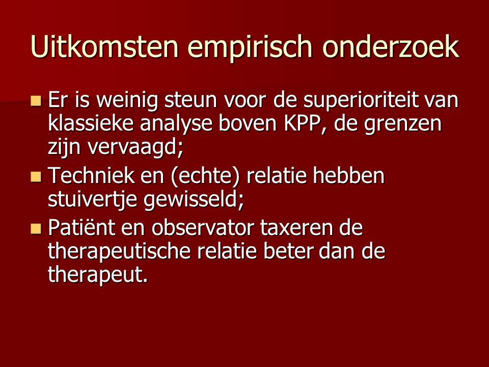 Uitkomsten empirisch onderzoek Er is weinig steun voor de superioriteit van klassieke analyse boven KPP, de grenzen zijn vervaagd; Er is weinig steun