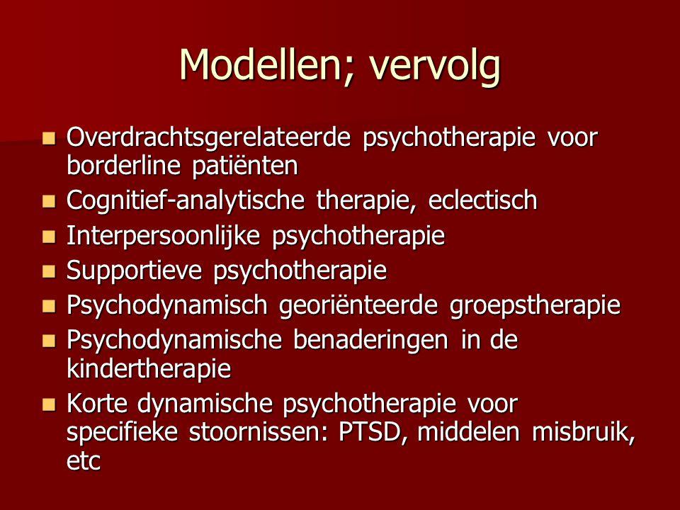 Psychodynamisch georiënteerde groepstherapie Yalom, MacKenzie, Scheidlinger Yalom, MacKenzie, Scheidlinger Efficiënt en kosteneffectief (-20 sessies) Efficiënt en kosteneffectief (-20 sessies) Tijdlimiet, actieve therapeut, focus, doelen, selectie en voorbereiding van de patiënten Tijdlimiet, actieve therapeut, focus, doelen, selectie en voorbereiding van de patiënten Veel verschillende type groepen (van klacht tot ontwikkelingsgebied), supportief-expressief-interpreterend Veel verschillende type groepen (van klacht tot ontwikkelingsgebied), supportief-expressief-interpreterend Speciaal voor interpersoonlijke problemen Speciaal voor interpersoonlijke problemen