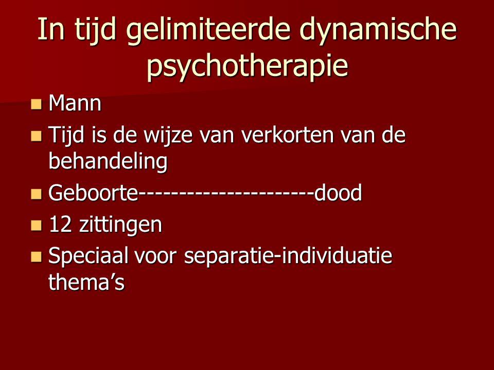 Kortdurende Psychodynamische Psychotherapie Davanloo, Sifneos, Magnavita, Osimo Davanloo, Sifneos, Magnavita, Osimo Affect activeren, weerstand (D) angst, diep interpreteren, weerstand ontwrichten (S) Affect activeren, weerstand (D) angst, diep interpreteren, weerstand ontwrichten (S) Verkorting vindt plaats door acceleratie van het therapeutisch proces Verkorting vindt plaats door acceleratie van het therapeutisch proces Twee driehoeken, spiegelingsfunctie, activeren onbewuste conflicten, herstructureren van afweer, angst reguleren, emoties ervaren Twee driehoeken, spiegelingsfunctie, activeren onbewuste conflicten, herstructureren van afweer, angst reguleren, emoties ervaren Tamelijk brede indicatiestelling Tamelijk brede indicatiestelling