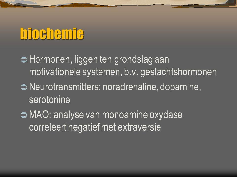 biochemie  Hormonen, liggen ten grondslag aan motivationele systemen, b.v.