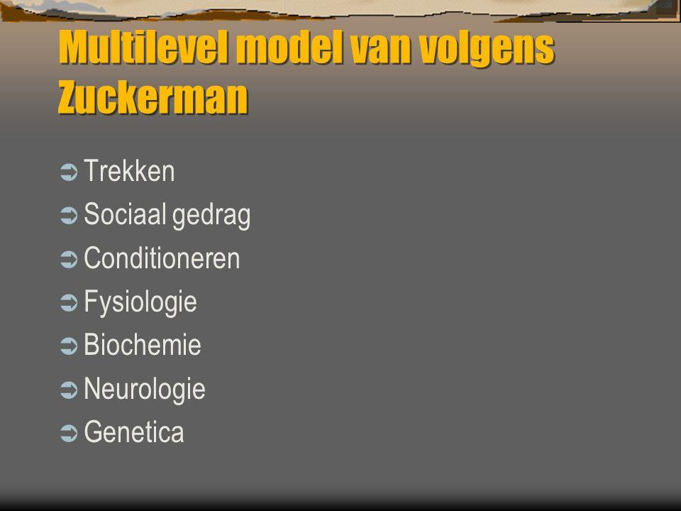 Multilevel model van volgens Zuckerman  Trekken  Sociaal gedrag  Conditioneren  Fysiologie  Biochemie  Neurologie  Genetica