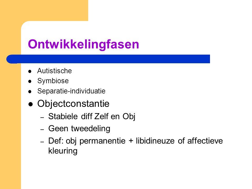 Ontwikkelingfasen Autistische Symbiose Separatie-individuatie Objectconstantie – Stabiele diff Zelf en Obj – Geen tweedeling – Def: obj permanentie + libidineuze of affectieve kleuring