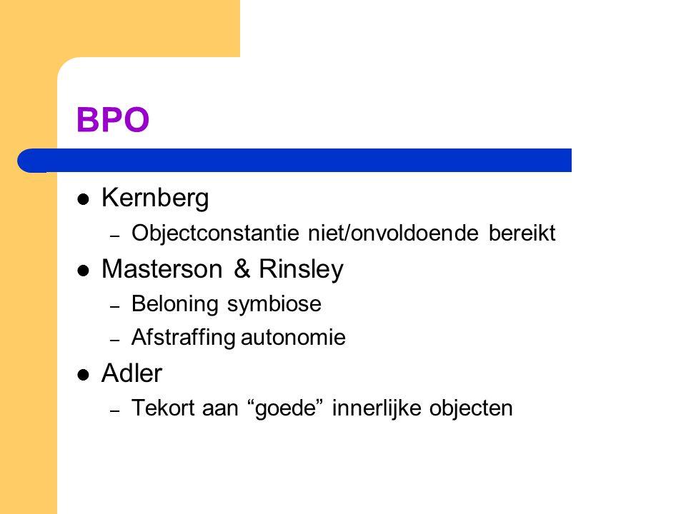 BPO Kernberg – Objectconstantie niet/onvoldoende bereikt Masterson & Rinsley – Beloning symbiose – Afstraffing autonomie Adler – Tekort aan goede innerlijke objecten