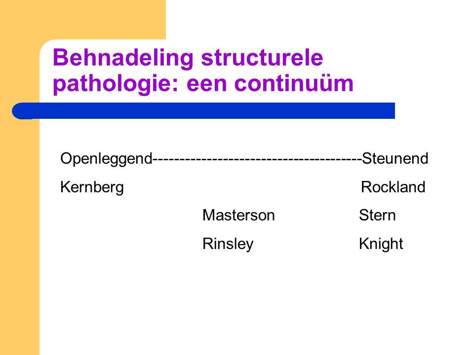Behnadeling structurele pathologie: een continuüm Openleggend---------------------------------------Steunend Kernberg Rockland Masterson Stern Rinsley Knight