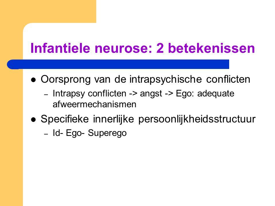 Infantiele neurose: 2 betekenissen Oorsprong van de intrapsychische conflicten – Intrapsy conflicten -> angst -> Ego: adequate afweermechanismen Specifieke innerlijke persoonlijkheidsstructuur – Id- Ego- Superego