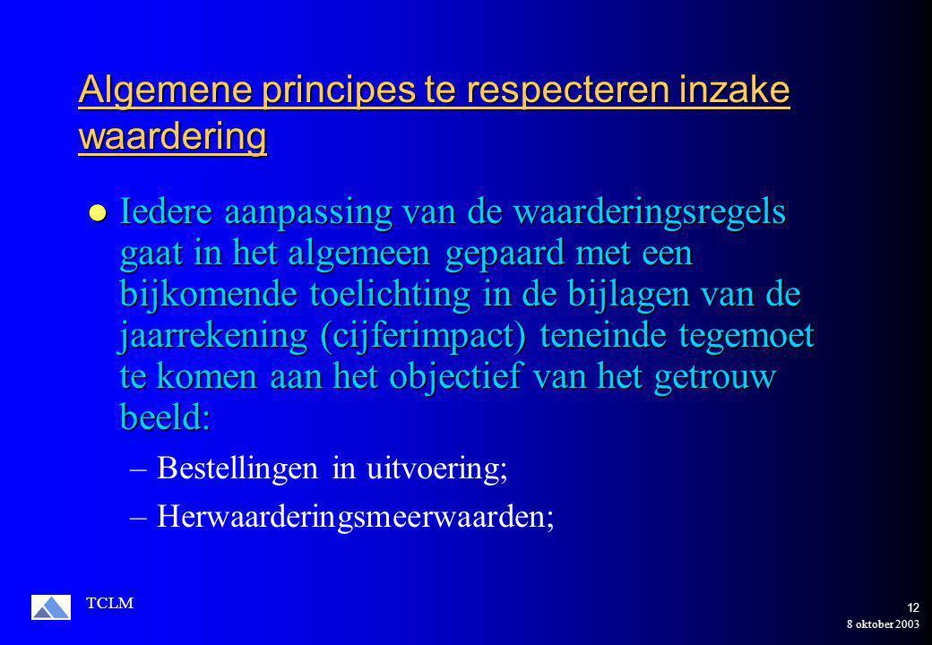 8 oktober 2003 TCLM 11 Algemene principes te respecteren inzake de waardering De waarderingsregels moeten aangepast worden naar aanleiding van een belangrijke aanpassing van de ondernemings-activiteiten, de structuur van het patrimonium of economische of technologische omstandigheden en wanneer de voorheen toegepaste waarderingsregels niet meer beantwoorden aan het objectief van het getrouw beeld.