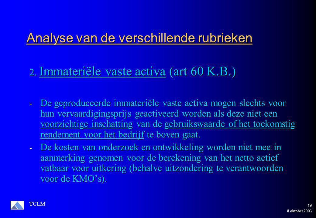 8 oktober 2003 TCLM 18 Toepassing op de onderneming Manipulo NV Gecorrigeerd Gecorrigeerd Opricht.kost.