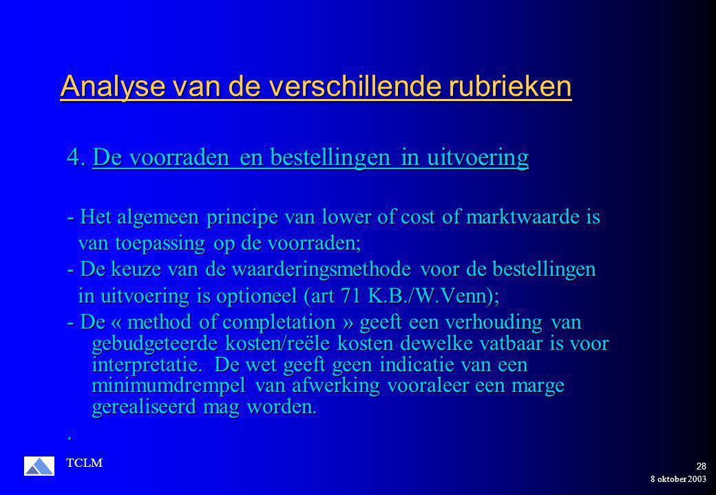8 oktober 2003 TCLM 27 Voorbeeld van manipulatie Financiële vaste activa Financiële vaste activa  Moeten het voorwerp uitmaken van een waardevermindering ingeval van duurzame minderwaarde (Art 66 K.B.) (Art 66 K.B.) Handelsvorderingen  Moeten er het voorwerp van uitmaken indien terugbetaling onzeker is of verloren (Art 68 K.B.)