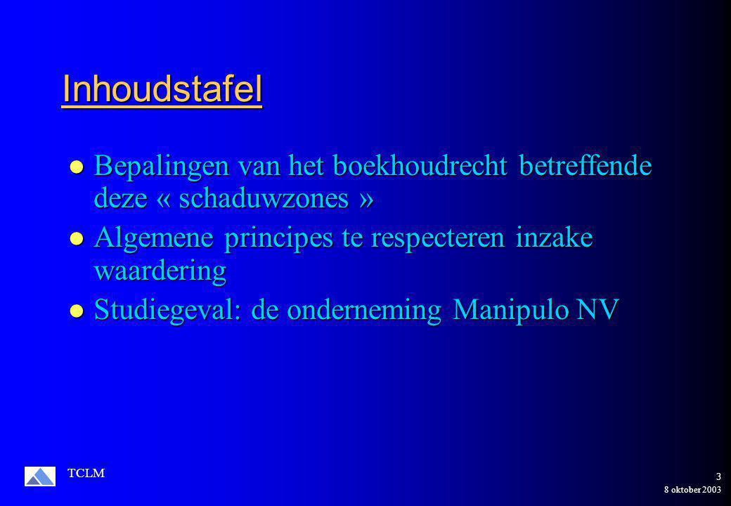 8 oktober 2003 TCLM 3 Inhoudstafel Bepalingen van het boekhoudrecht betreffende deze « schaduwzones » Bepalingen van het boekhoudrecht betreffende deze « schaduwzones » Algemene principes te respecteren inzake waardering Algemene principes te respecteren inzake waardering Studiegeval: de onderneming Manipulo NV Studiegeval: de onderneming Manipulo NV
