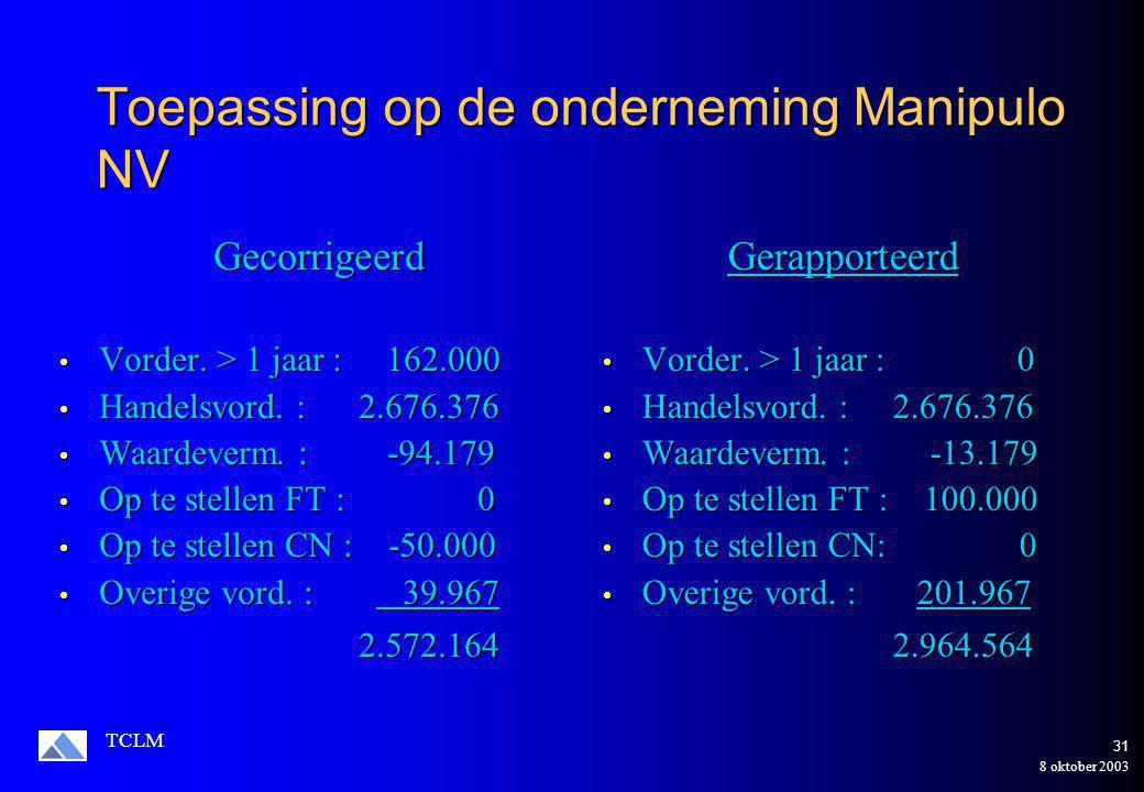 8 oktober 2003 TCLM 30 Analyse van de verschillende rubrieken 5.