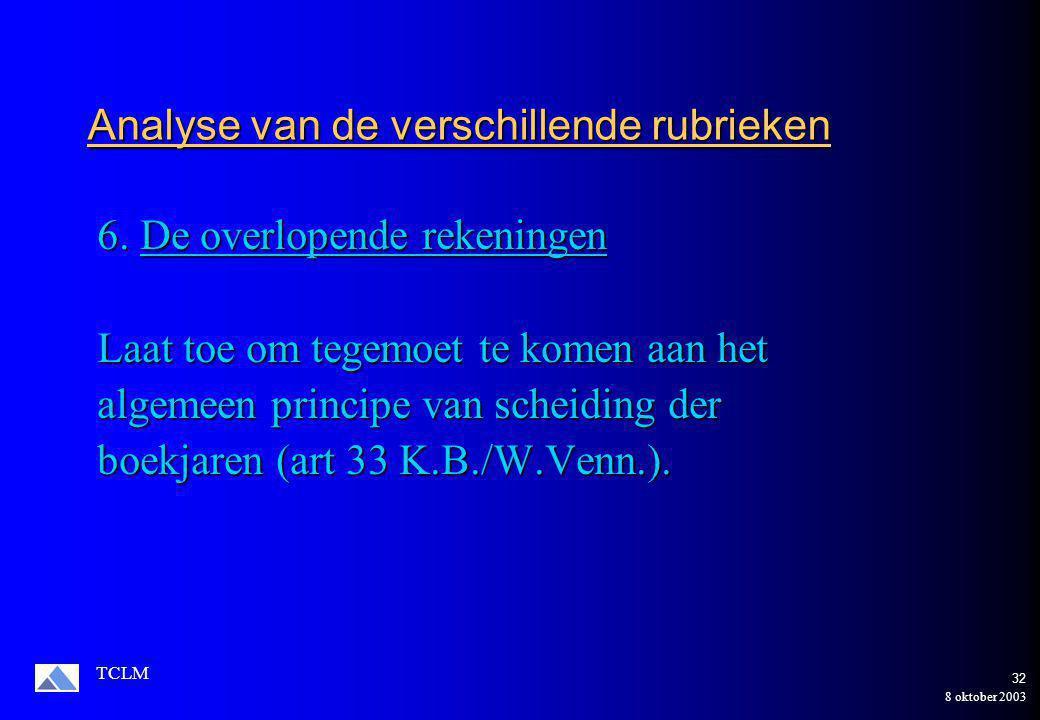 8 oktober 2003 TCLM 31 Toepassing op de onderneming Manipulo NV Gecorrigeerd Gecorrigeerd Vorder.