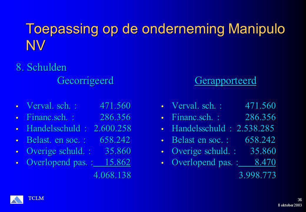 8 oktober 2003 TCLM 35 Toepassing op de onderneming Manipulo NV Gecorrigeerd Gecorrigeerd Prov.