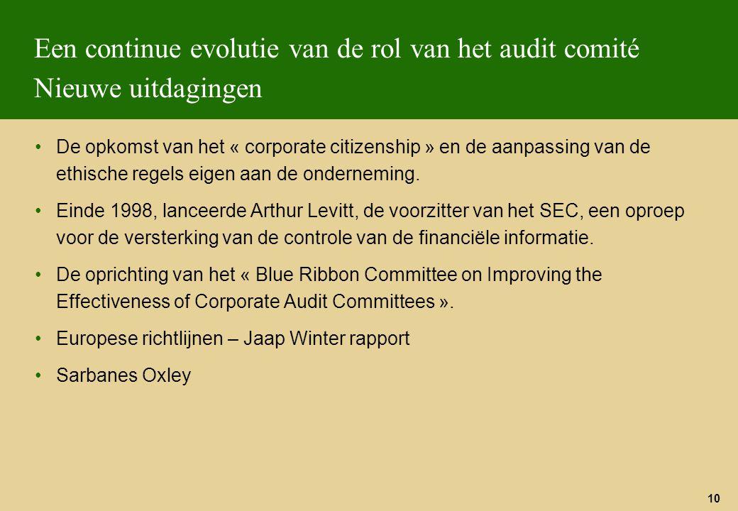 10 Een continue evolutie van de rol van het audit comité Nieuwe uitdagingen De opkomst van het « corporate citizenship » en de aanpassing van de ethis
