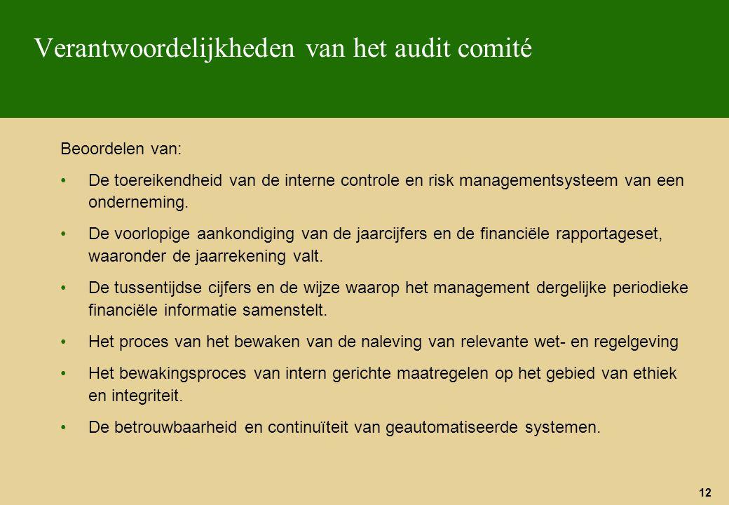 12 Verantwoordelijkheden van het audit comité Beoordelen van: De toereikendheid van de interne controle en risk managementsysteem van een onderneming.