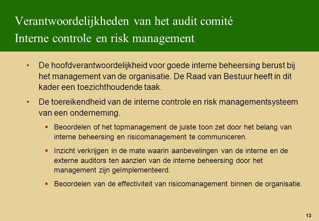 13 Verantwoordelijkheden van het audit comité Interne controle en risk management De hoofdverantwoordelijkheid voor goede interne beheersing berust bi